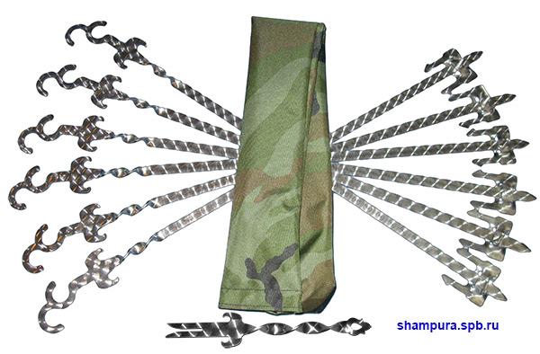 Шампуры плоские с держателями с чехлом, для тандыра и мангала.
